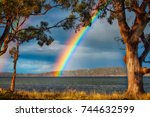 brunny island rainbow | Shutterstock . vector #744632599