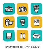 doodle icon set - cameras - stock vector