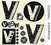 scribble alphabet  crazy doodle ... | Shutterstock .eps vector #74463523