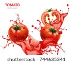 fresh tomato with juice  3d... | Shutterstock .eps vector #744635341