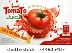 tomato juice ads  metal can... | Shutterstock .eps vector #744635407