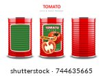 tomato juice or sauce package ... | Shutterstock .eps vector #744635665