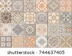 Small photo of Ceramic tile pattern elegant vintage and Tuscany flowers. Beautiful colored background for design and fashion with decorative elements. Ornate floral decor for wallpaper. Tuscany or Italian style