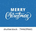merry christmas hand drawn... | Shutterstock .eps vector #744639661
