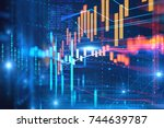 financial stock market graph... | Shutterstock . vector #744639787