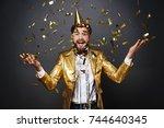portrait of screaming man...   Shutterstock . vector #744640345