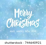 merry christmas and happy new... | Shutterstock .eps vector #744640921