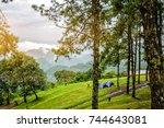 camping near the scenic spot...   Shutterstock . vector #744643081