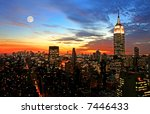 New York City midtown skyline at dark - stock photo
