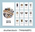 design template calendar 2018.... | Shutterstock .eps vector #744646891