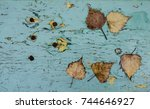 fallen autumn leaves on the old ...   Shutterstock . vector #744646927