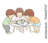 vector illustration of little... | Shutterstock .eps vector #744649747