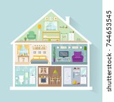 vector house model with rooms... | Shutterstock .eps vector #744653545