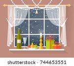 christmas dinner on the... | Shutterstock .eps vector #744653551
