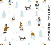 hand drawn vector fun winter... | Shutterstock .eps vector #744655504