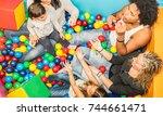 happy multiracial mom and dad...   Shutterstock . vector #744661471