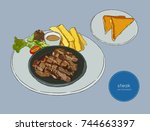 sliced beef steak   serve with...   Shutterstock .eps vector #744663397