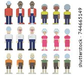 set of female and male old... | Shutterstock .eps vector #744665149