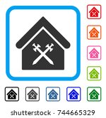 guard office icon. flat gray...   Shutterstock .eps vector #744665329