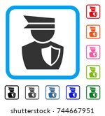 police officer icon. flat gray...
