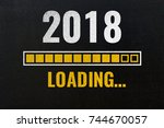 2018 loading with progress bar  ... | Shutterstock . vector #744670057