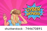 cyber monday poster with woman... | Shutterstock .eps vector #744670891