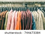 second hand pullover clothes...   Shutterstock . vector #744673384