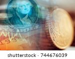 dollars and coins. finance... | Shutterstock . vector #744676039