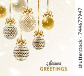 christmas greeting card  ... | Shutterstock .eps vector #744677947