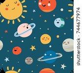 solar system seamless pattern....   Shutterstock .eps vector #744677974