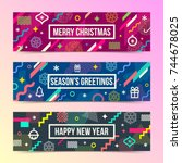 vector set of abstract holidays ... | Shutterstock .eps vector #744678025