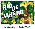 brazilian samba dancer.... | Shutterstock .eps vector #744678601