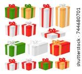 set of christmas gift box... | Shutterstock .eps vector #744680701