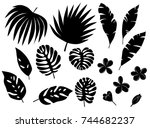 set of silhouettes of tropical... | Shutterstock .eps vector #744682237