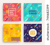 vector set of abstract holidays ... | Shutterstock .eps vector #744682399