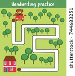 handwriting practice sheet.... | Shutterstock .eps vector #744683251