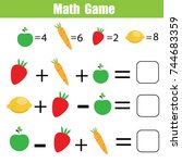 mathematics educational game... | Shutterstock .eps vector #744683359