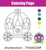 coloring page with princess... | Shutterstock .eps vector #744683389