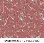 seamless pattern with white... | Shutterstock .eps vector #744683407