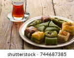 turkish delight sweets on plate ... | Shutterstock . vector #744687385