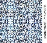 native batik watercolor... | Shutterstock . vector #744690841