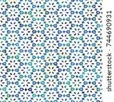 native batik watercolor... | Shutterstock . vector #744690931