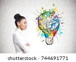 portrait of a strong and... | Shutterstock . vector #744691771