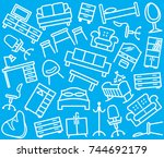 seamless background with image... | Shutterstock .eps vector #744692179