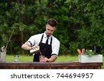 catering bar service  bartender ... | Shutterstock . vector #744694957