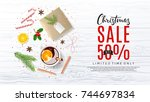 promo web banner for christmas... | Shutterstock .eps vector #744697834