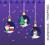 christmas new year ball. santa... | Shutterstock .eps vector #744699361
