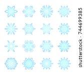 separate snowflakes doodles... | Shutterstock .eps vector #744699385