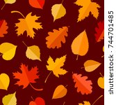 seamless pattern with colorful... | Shutterstock .eps vector #744701485