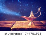 image of magical aladdin lamp... | Shutterstock . vector #744701935